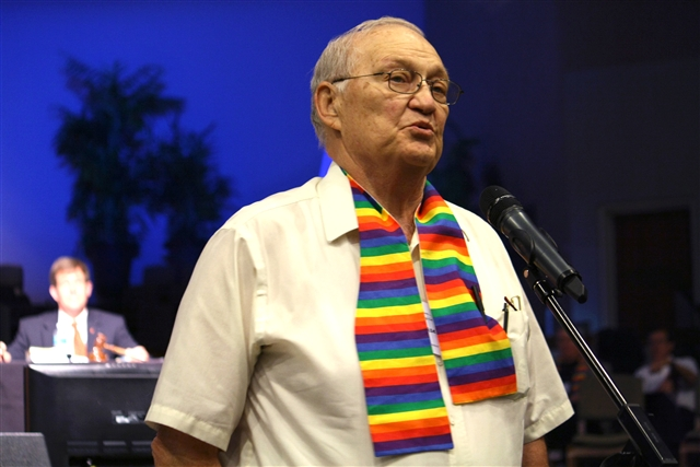 Rev. Frank Dorsey presents a petition to General Conference to change the language related to homosexuality throughout the Book of Discipline.